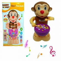 360 Degree Rotation Happy Drummer Monkey With Toy Light & Music (Pack Of 1 Pair)