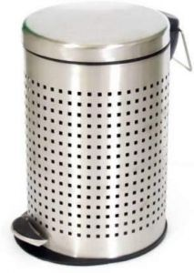 PALOMINO Stainless Steel Perforated Pedal Dustbin With Plastic Bucket For Home & Office