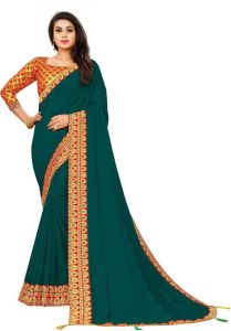 Avsar Trendz Temple Border Dyed Bollywood Tussar Silk Saree Maharani Border Saree - (Morpich)