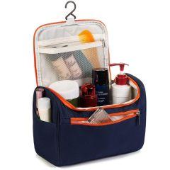 Cyalerva Multifunctional Navy Blue Color Travel Bag Extra Large Makeup Organiser Cosmetic Case Household Grooming Kit Storage Travel Kit Pack with Hook,Travel Bag for Women Travel, Makeup Bag (Pack of 1)