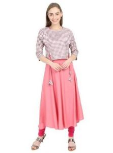 Womens Double Layered Asymmetrical Rayon Jacket & Cotton Designer Long Kurti, Dress