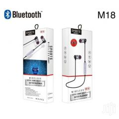 M18 Wireless Bluetooth Neckband Magnetic Earphones Headset Silver in-Ear Headphones For Music and Call