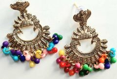 Multicolor Beads Metal Material Ethnic Wear Chandbali Earring for Womens