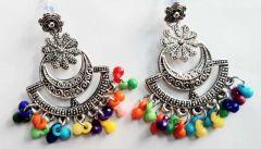 Beautiful Oxidised Flower Multicolour Jhumka Beads Metal Chandbali Earring for Womens