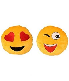 Pair Of Emoji Hearts Smiley and Wink Smiley Cushion Pillow (Size: 35cm) (Pack of 2)