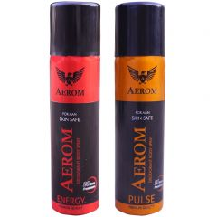Aerom Energy and Pulse Deodorant Body Spray For Men, 300 ml (Pack of 2)