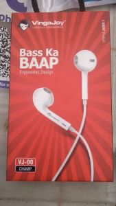 Vingajoy Wired Earphone Premium Quality Earphone with Microphone (Pack of 1) | (White)