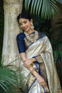 Soft Kanjiwaram Super All Over Weaving Silk Cloth Saree For Womens