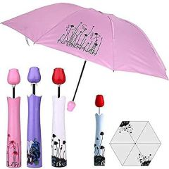 Cyalerva Double Layer Multi Color Rose Flower Case Umbrella, Waterproof UV Protection, Mini Compact Foldable Design Travel Plastic Umbrella With Compact Bottle For Monsoon And Summer (Pack of 1)