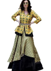 Bagrecha Creations Designer Fit And Flare Knee Length Gown | Anarkali | Party Wear Dress For Girls & Women's - Yellow