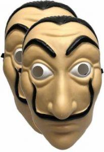 PTCMART Face Mask La Casa De Papel Mask Salvador Dali Mascara Masque Money Heist Cosplay Props Toy Party Mask(Pack of 2)