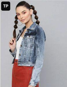 Women's Full Sleeves Regular Fit Faded Blue Denim Jacket