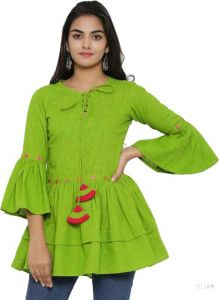 Women's Casual 3/4 Sleeve Solid Top - Light Green