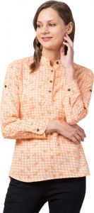 Women's Casual 3/4 Sleeve Printed Orange/White Top