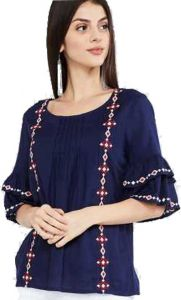 Women's Casual Embroidered Blue 3/4 Designer Sleeves Top