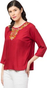 Women's Casual 3/4 Sleeve Neck Embroidered Maroon Top