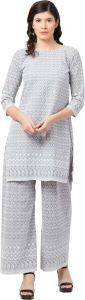 Women Kurta and Palazzo Set Pure Cotton - Grey