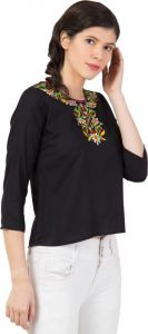 Women's 3/4 Sleeve Casual Top - Black