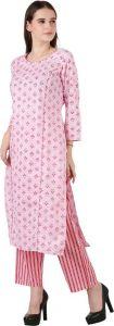 Women's Kurta and Palazzo Set Pure Cotton - Light Pink