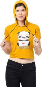 FashionNYou Women's Half Sleeve Printed Sweatshirt - Yellow