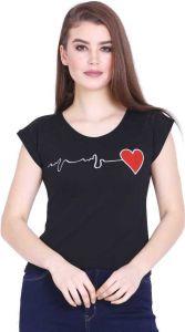Women's Printed Round Neck Hosiery T-Shirt - Black