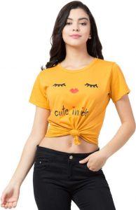 Women's Printed Round Neck Hosiery Yellow T-Shirt