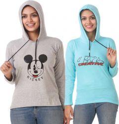Women's Full Sleeve Solid Sweatshirt Pack of 2 (Grey & Blue)