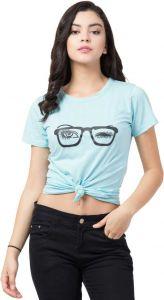 Women's Printed Round Neck T-Shirt/Top - Blue
