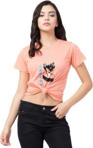 Women's Printed Round Neck T-Shirt - Peach