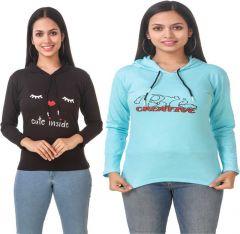 Women's Full Sleeve Solid Sweatshirt Pack of 2 (Black & Blue)