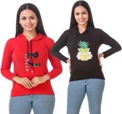 Women's Full Sleeve Solid Sweatshirt (Red & Black)