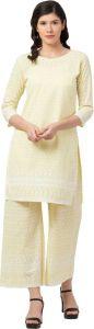 Women Kurta and Palazzo Set Pure Cotton - Light Yellow