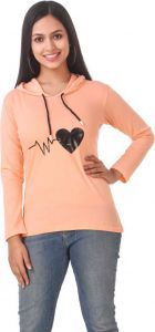 Women's Full Sleeve Cotton Sweatshirt - Peach