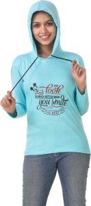Women's Full Sleeve Cotton Sweatshirt - Sky Blue