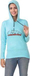 Women's Full Sleeve Cotton Sweatshirt - Light Blue
