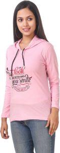 Women's Full Sleeve Cotton Sweatshirt - Light Pink