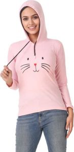 Women's Full Sleeve Cotton Sweatshirt - Pink