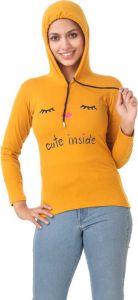 Women's Full Sleeve Graphic Print Cotton Sweatshirt - Yellow