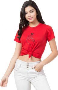 Women's Printed Cotton Hosiery Short Sleeves T-Shirt