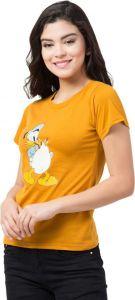 Women's Printed Cotton Short Sleeves T-Shirt - Mustard