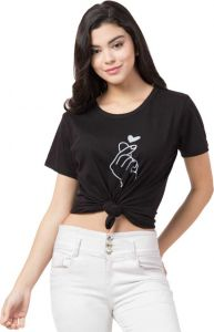 Women's Printed Cotton Short Sleeves T-Shirt - Multi-Color