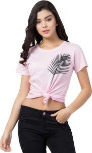 Women's Typography Round Neck Pink T-Shirt