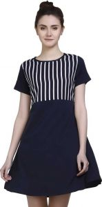 FashionNYou Women's Short Sleeves A-line Black Dress