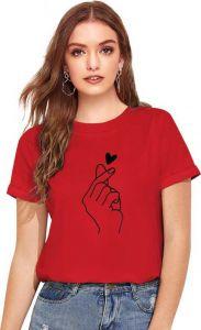 Women's Printed Cotton Short Sleeves Round Neck T-Shirt