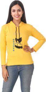 Women's Full Sleeve Printed Cotton Sweatshirt - Yellow