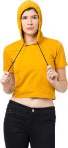 Women's Half Sleeve Solid Print Sweatshirt - Yellow