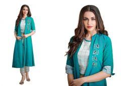Bagrecha Creations Designer 3 Piece Dress - Koti, Inner, Leggings | Party Wear Dress | Long Shrug For Girls & Women's - Green/Turquoise