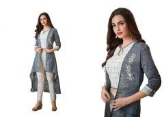 Bagrecha Creations Designer 3 Piece Dress - Koti, Inner, Leggings   Party Wear Dress   Long Shrug With Inner & Legging For Girls & Women's - Grey