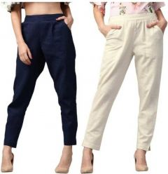 Fearless Fashion Regular Fit Women White Cotton Blend Trousers For Party Occasion (Blue & White) (Pack of 2)
