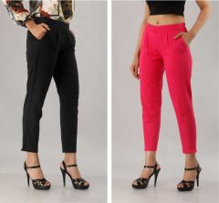 Fearless Fashion Regular Fit Women White Cotton Blend Trousers For Casual Occasion (Black & Pink) (Pack of 2)